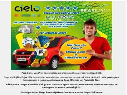 Exemplo de e-mail com falsa promoção para roubar dados pessoais do internauta Foto: Divulgação