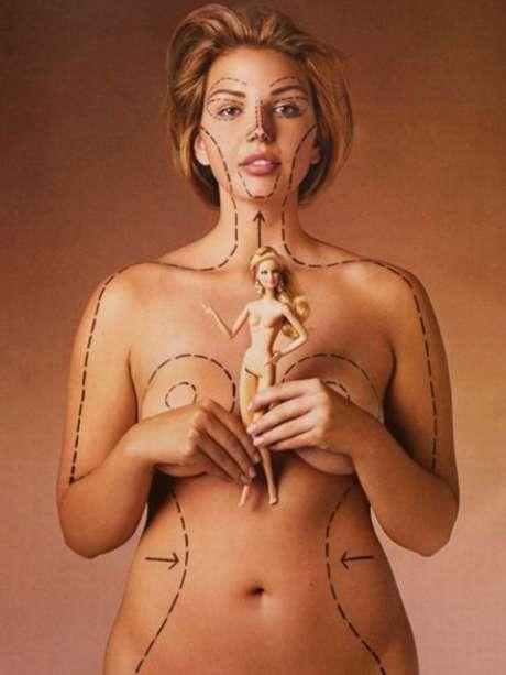 Katie Halchishick, idealizadora da Healthy Is The New Skinny, mostrou as diferenças entre a Barbie e a vida real Foto: Twitter