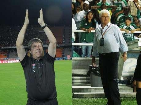 Hernán Darío Gómez, DT del DIM y Julio Comesaña técnico del Deportivo Cali
