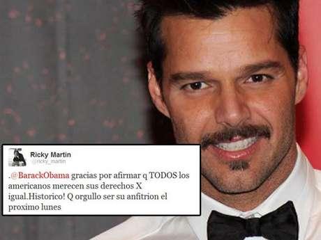 """Ricky Martin: """"Gracias por afirmar que todos los americanos merecen sus derechos por igual. Que orgullo ser su anfitrión el próximo lunes""""."""