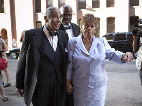 U.S. Representative Charles B. Rangel and his wife Alma attend the wedding of New York City Council speaker Christine C. Quinn and her girlfriend Kim Catullo in New York, May 19, 2012.