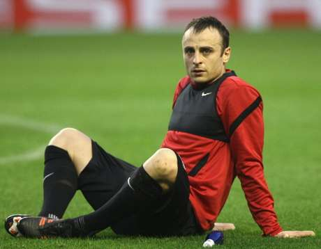 Dimitar Berbatov of Manchester United in action during a first team training session, ahead of the UEFA Europa League Round of 16 second leg match against Athletic Club of Bilbao, at San Mames Stadium on March 14, 2012 in Bilbao, Spain.