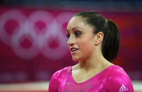 Jordyn Wieber of the U.S. attends a gymnastics training session at the North Greenwich Arena before the start of the London 2012 Olympic Games July 26, 2012.