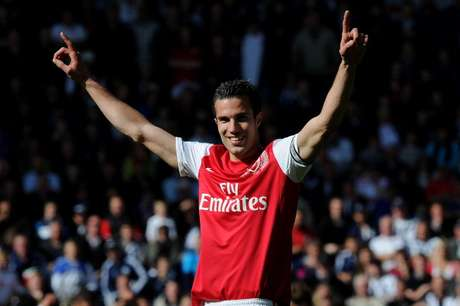 Arsenal captain Robin van Persie celebrates after the Barclays Premier League match between West Bromwich Albion and Arsenal at The Hawthorns on May 13, 2012 in West Bromwich, England.