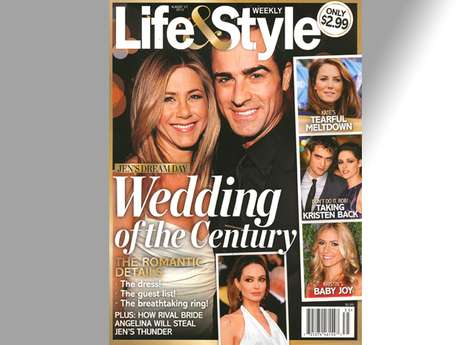 """Okay, so all we REALLY care about on this cover is the part that mentions Jen and Angelina's rivalry.  A """"friend"""" of Aniston reportedly told Life & Style that """"Jen doesn't want to get married the same time as [Brad and Angelina] do...If anything, Jen wants to get married before them.""""  Also, the fact that the Brangelina's wedding will include their kids is """"a knife in the heart for Jen. After all, she's made her desire for kids clear but doesn't have an army of ring bearers and flower girls to accompany her down the aisle.""""  Ave, Maria, think she'll survive?!"""