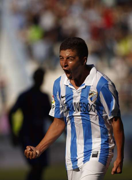 Malaga's Francisco Portillo celebrates after scoring a goal against Levante during their Spanish First Division soccer match at La Rosaleda stadium in Malaga, southern Spain September 15, 2012. REUTERS/Jon Nazca