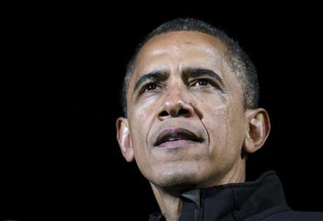 U.S. President Barack Obama appears with tears on his cheek during remarks at his final presidential campaign rally in Des Moines, Iowa, November 5, 2012, on the eve of the U.S. presidential elections.