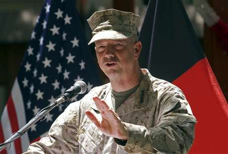 U.S. General John Allen, commander of the North Atlantic Treaty Organization (NATO) forces in Afghanistan, speaks during U.S. Independence Day celebrations in Kabul July 4, 2012.