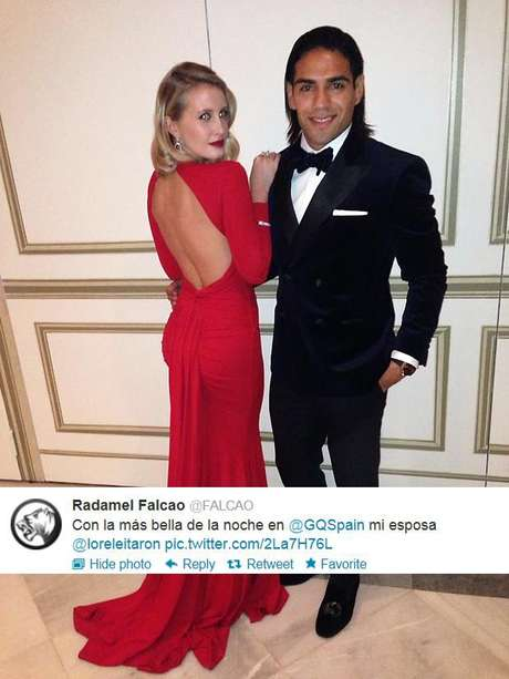 Radamel Falcao and his wife posed for this photo at a GQ Spain party.
