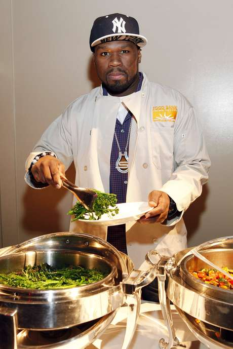 50 Cent joins Feeding America and the Food Bank for NYC to serve Thanksgiving meals to people in need at Cipriani, on Wednesday, November 21, 2012 in New York.