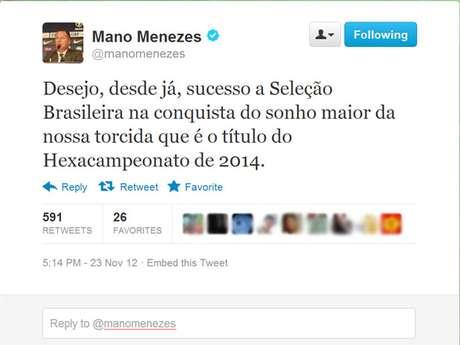 Mano Menezes utilizou o Twitter para comentar sobre a saída do cargo