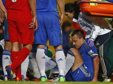 John Terry was injured in Chelsea's match against Liverpool.