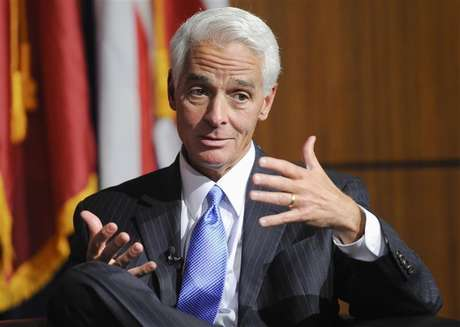 Former Governor of Florida Charlie Crist answers a question during the University of Southern California's Schwarzenegger Institute for State and Global Policy inaugural Symposium in Los Angeles, California, September 24, 2012.