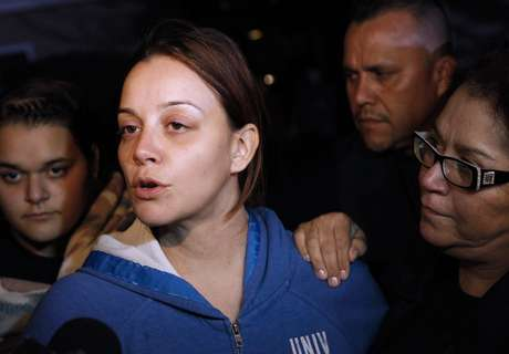Jenni Rivera's sister, Rosie, spoke to press outside the house.