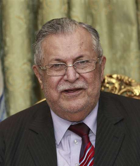 Iraq's President Jalal Talabani speaks to the media during a news conference in Baghdad in this November 23, 2010 file photo.