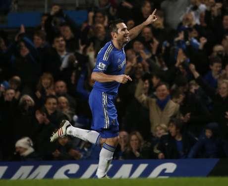 Chelsea's Frank Lampard celebrates his goal against Aston Villa.