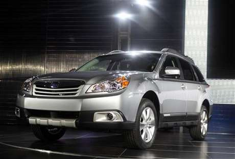 The 2010 Subaru Outback is unveiled at the 2009 New York International Auto Show April 9, 2009.