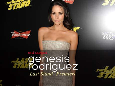 """Genesis Rodriguez was bound to have a wardrobe malfunction at """"The Last Stand"""" movie premiere."""