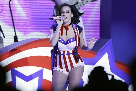 "Katy Perry put on her sexiest red, white and blue costume to perform during the ""Kids' Inaugural: Our Children. Our Future"" concert in Washington on Saturday."