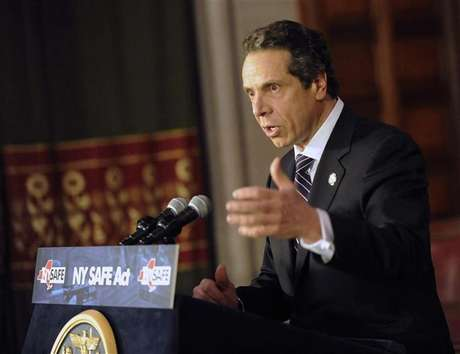 New York Governor Andrew Cuomo talks about the New York Secure Ammunition and Firearms Enforcement Act in Albany, New York January 15, 2013. Cuomo on Tuesday signed into law one of the nation's toughest gun-control measures and the first to be enacted since the mass shooting last month at an elementary school in neighboring Connecticut.