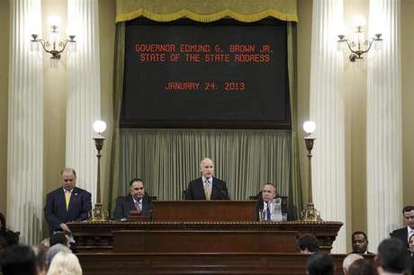 California Governor Jerry Brown speaks at a news conference to announce the Public Employee Pension Reform Act of 2012 at Ronald Reagan State Building in Los Angeles, California August 28, 2012.