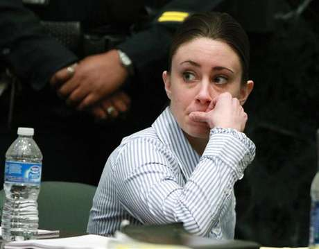 Casey Anthony sits at the defense table after the jury left to begin deliberations in her first degree murder trial at the Orange County Courthouse in Orlando, Florida, July 4, 2011.
