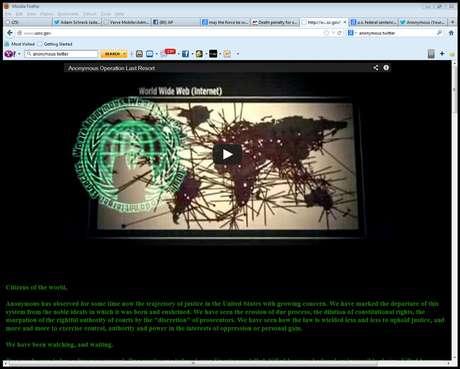 Vista del cibersitio de la Comisión Estadounidense de Sentencia después de ser interferido por el grupo de ciberpiratas Anonymous el 26 de enero del 2013 para vengar la muerte de Aaron Swartz, un activista de Internet que se suicidó