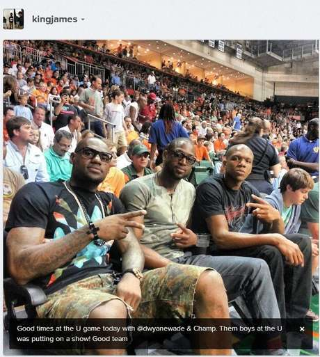 <p>LeBron James, Dwyane Wade and James Jones went to watch the other hot Miami team in town, the Miami Hurricanes.</p>