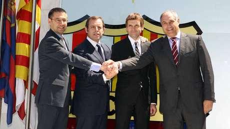 Imagen del día de la presentación de Vilanova como técnico del Barcelona