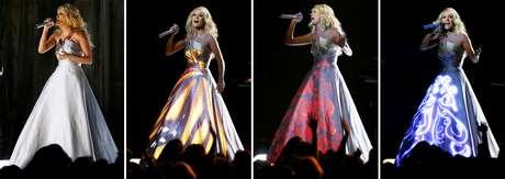 <p>Carrie Underwood lució muy colorida y mágica en su presentación en los Grammy</p>