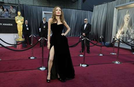 Actress Angelina Jolie poses at the 84th Academy Awards in Hollywood, California, February 26, 2012.