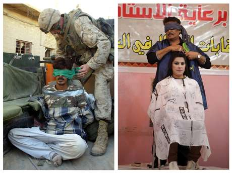 <p>En esta imagen se puede ver a la izquiera un soldado de la marina de EE.UU. vendando los ojos a un presunto insurgente en noviembre de 2004 y en la derecha un peluquero iraquí compitiendo en un concurso el pasado 9 de febrero de 2013.</p>