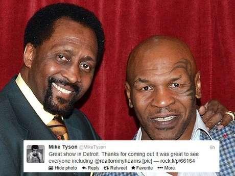 <p>Fue un flashback en Motown cuando Mike Tyson y Tommy 'Hit Man' Hearns se cruzaron después del one-man show de Iron Mike.</p>