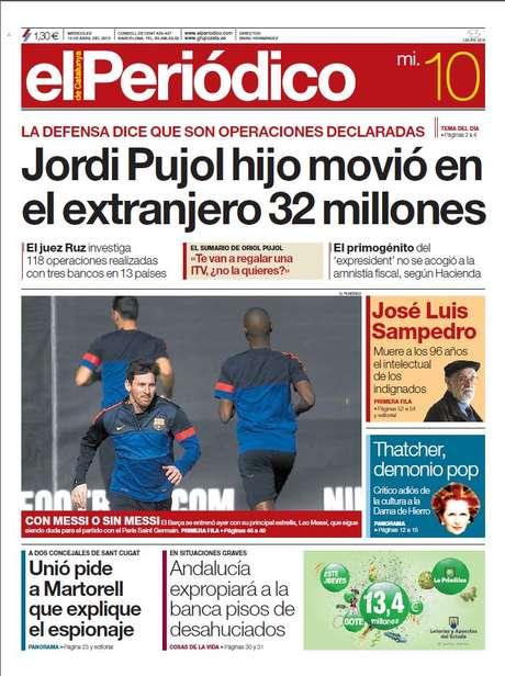 'El periódico de Cataluña' destaca en portada los 32 millones que Hacienda ha detectado en diversas cuentas extranjeras de Jordi Pujol hijo