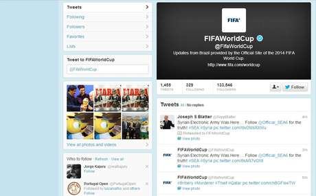 Conta oficial da Fifa no Twitter foi invadida na tarde desta segunda-feira