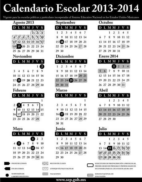 Calendario escolar para el ciclo lectivo 2013-2014, aplicable en toda la República para las escuelas de educación preescolar, primaria, secundaria, normal y demás para la formación de maestros de educación básica, públicas y particulares incorporadas al Sistema Educativo Nacional.