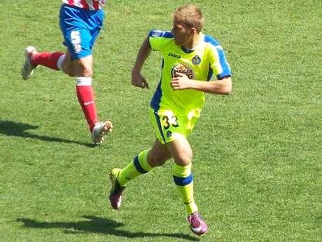 Samu Sáiz, durante un partido amistoso con el primer equipo del Getafe