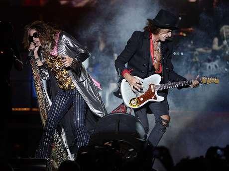 Steven Tyler e Joe Perry na Arena Anhembi Foto: Ricardo Matsukawa / Terra