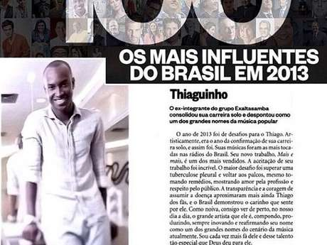 <p>O cantor postou em seu Instagram a matéria da lista feita pela revista 'Época'</p>