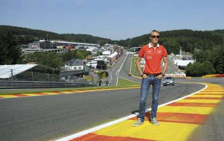 Marussia Formula One driver Max Chilton of Britain poses on the track ahead of the weekend's Belgian F1 Grand Prix in Spa-Francorchamps August 22, 2013.