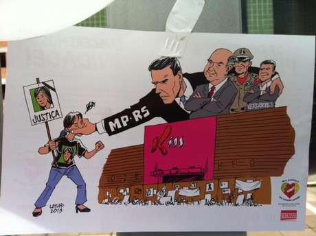 Charge mostra o Ministério Público, ao lado do prefeito Cezar Schirmer (PMDB), do Corpo de Bombeiros e de vereadores, calando os protestos por justiça Foto: Marcelo Becker / Terra