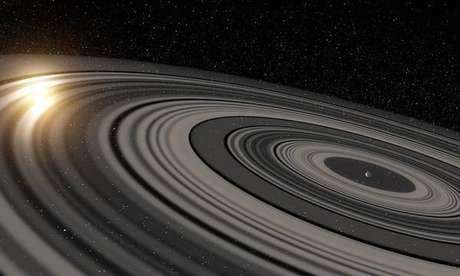 O planeta J1407b tem 30 anéis e está fora do Sistema Solar Foto: ANSA Brasil
