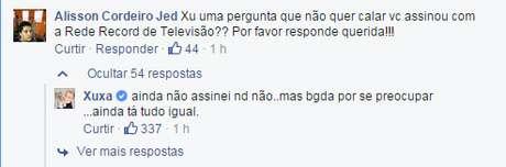 Xuxa desconversou a respeito de sua possível contratação pela Record Foto: Facebook / Reprodução