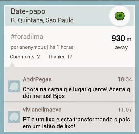 Ofensas trocadas entre simpatizantes e opositores da presidente Dilma Foto: Waze / Reprodução