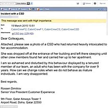 E-mail enviado aos funcionários da Qatar Foto: Daily Mail / Reprodução