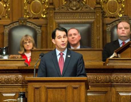 Scott Walker ante una sesión conjunta de la legislatura, en foto de enero del 2015.