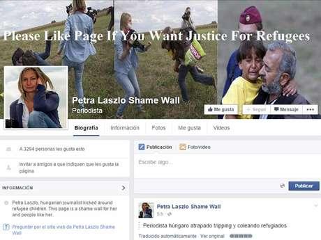 """En la página de Facebook """"Muro de la vergüenza Petra László"""" usuarios han opinado que la periodista representa lo peor de la humanidad."""