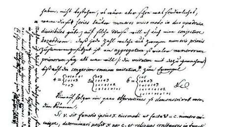Carta do cientista Goldbach ao seu colega Euler, em uma tentativa de resolver o problema matemático