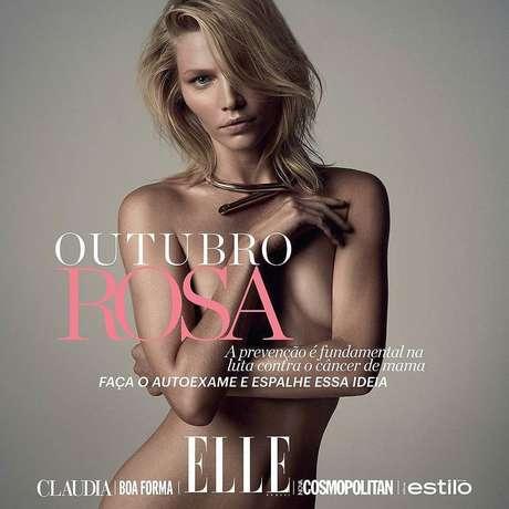 Aline está nua na capa da revista Elle deste mês em apoio a prevenção do câncer de mama