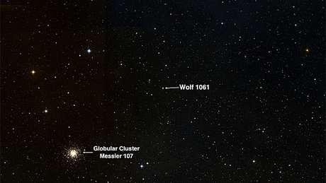 A localização da estrela Wolf 1061 (Imagem: Universidade de Nova Gales do Sul)